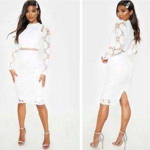 PLT White Long Sleeve Lace Bodycon Dress Size 6